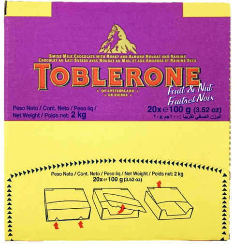 Picture of Toblerone Fruits & Nuts Chocolate 20x100g